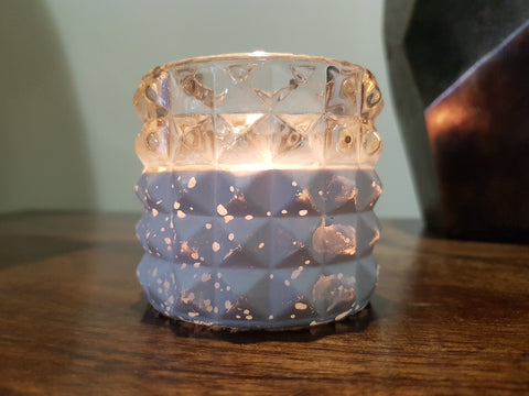 Fecco Glass Tealight Holder Clear And White - Height 7cm