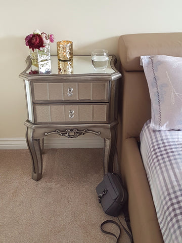 Glamour Antique French Style Mirrored Bedside Table-Height 67cm