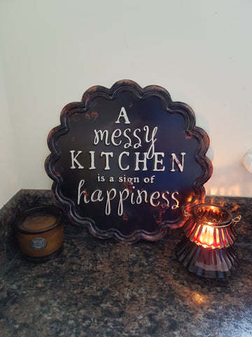 Messy Kitchen Iron Wall Plaques – Set of two