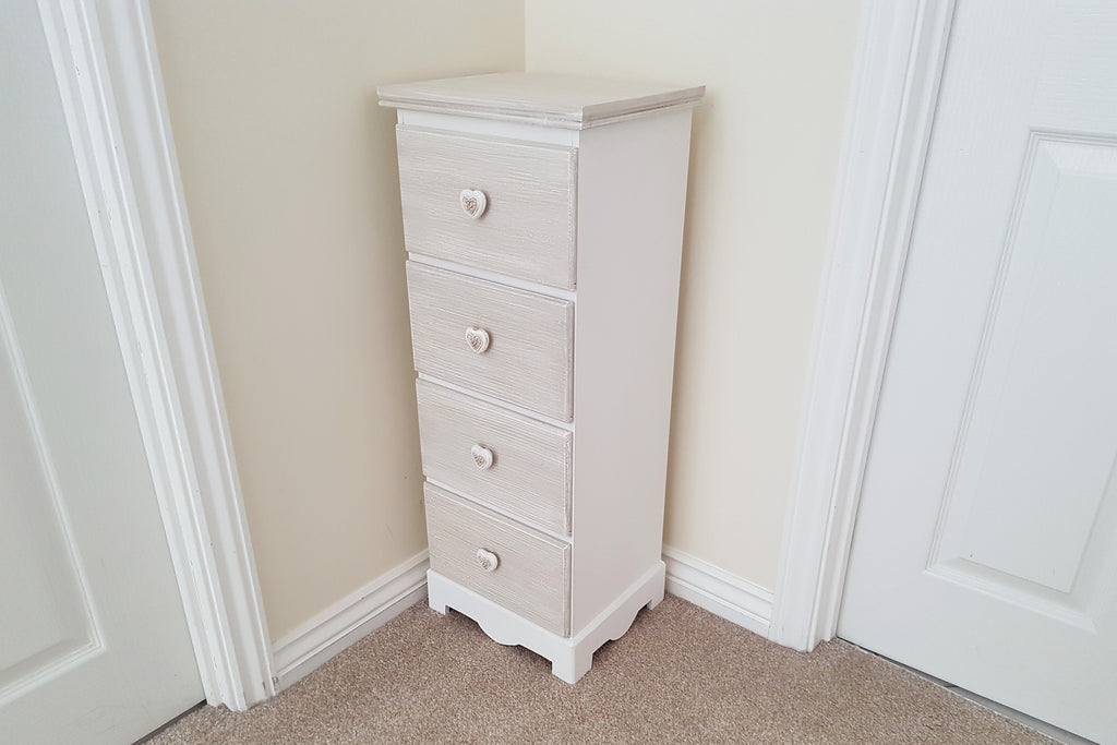 Country Living White And Oatmeal 4 Drawer Storage Unit