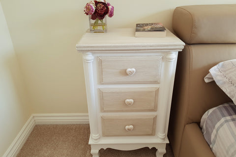 Rustic Charm Natual And White 3 Drawer Bedside Table - Height 68cm