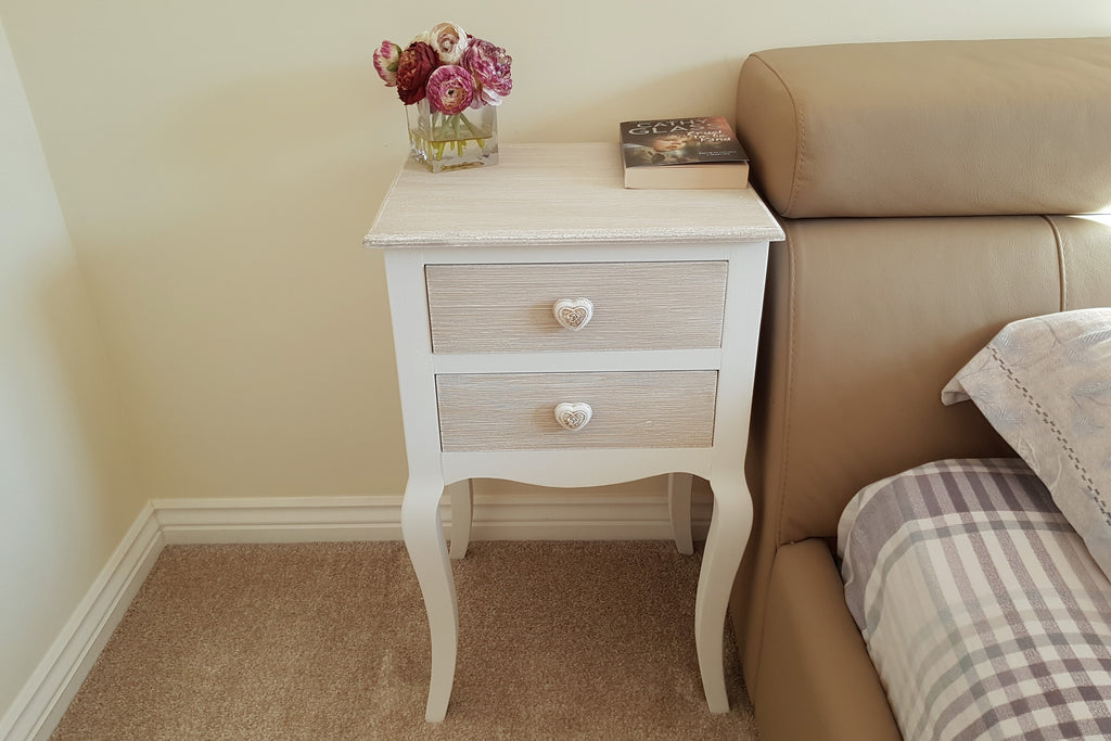 Country Living White And Oatmeal 2 Drawer Bedside Table