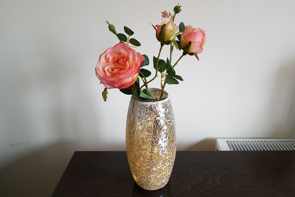 Mosaic Bullet Vase Height 23cm Champagne