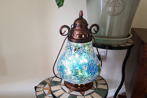 Parisian Style Blue Crackled Glass Moroccan Style Lantern