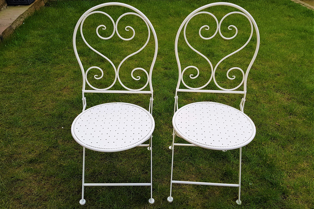 Pair of Chester Cream Metal Chairs