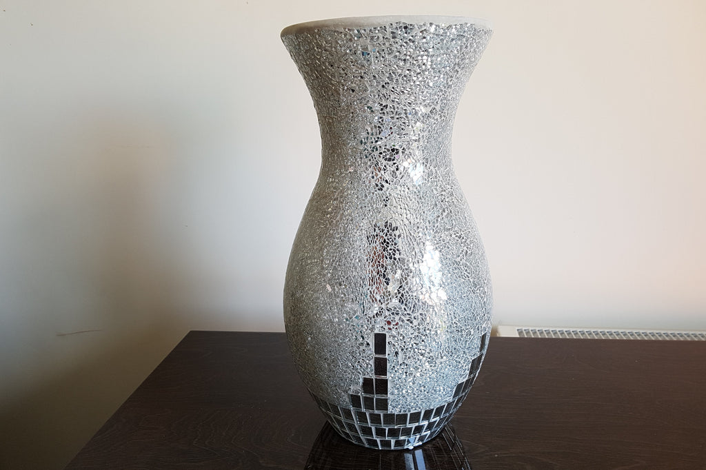 Mosaic Silver Shapely Vase Height 40cm