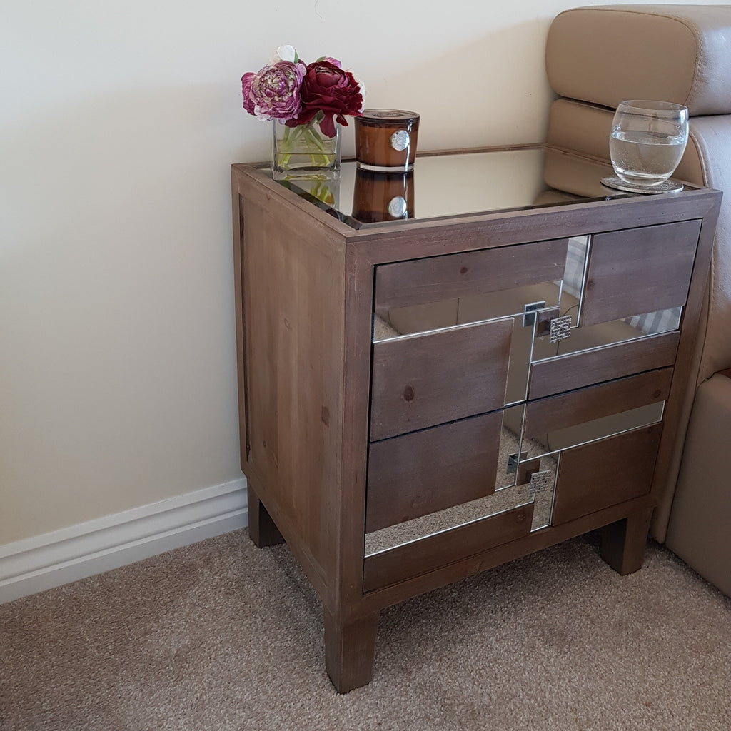 Art Deco Wood and Mirror Bedside Table
