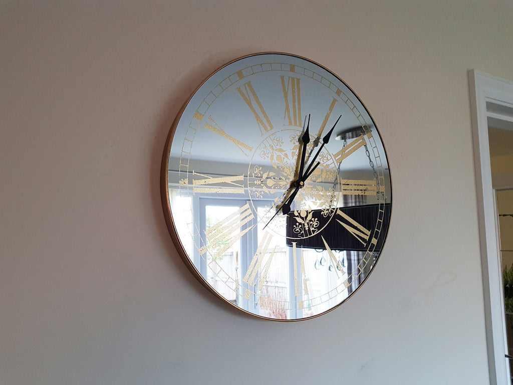 Lila Roman Numeral Mirrored Face Clock