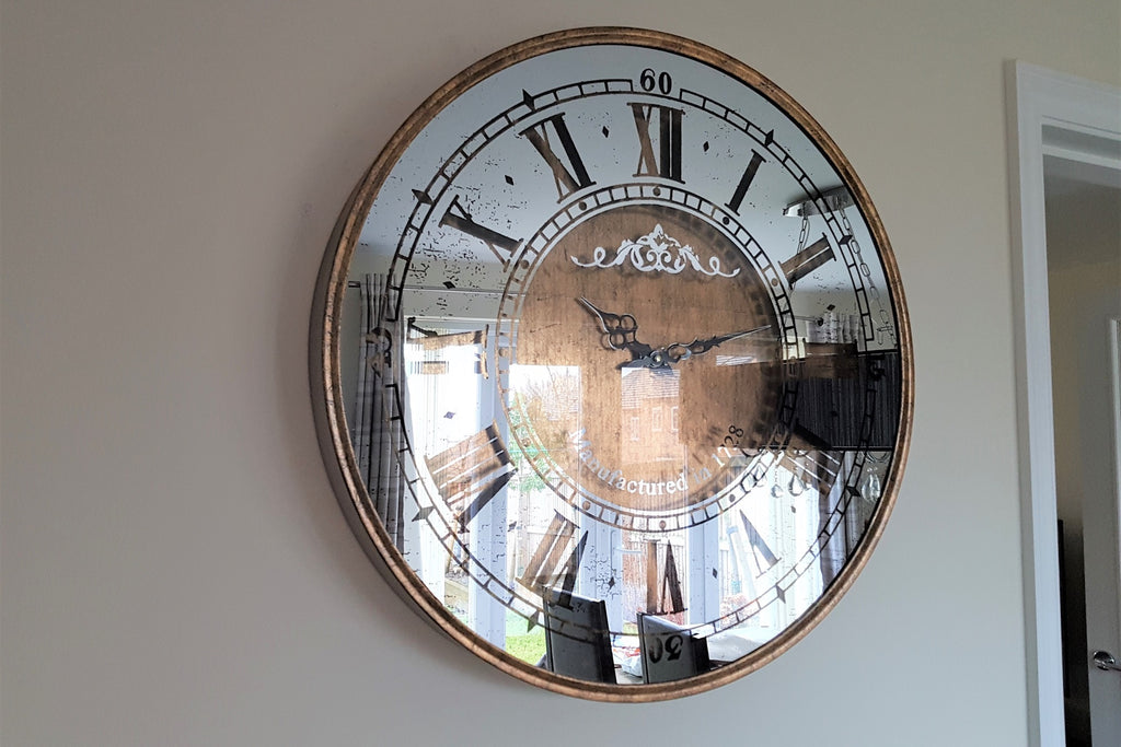 Roman Numerals Vintage Style Large Mirror Face Wall Clock
