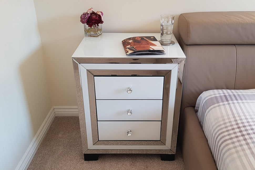 Amelia White Mirrored Bedside Table
