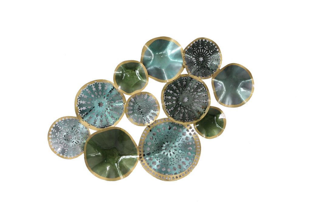 Mixed Metallic Turquoise Circles Wall Plaque