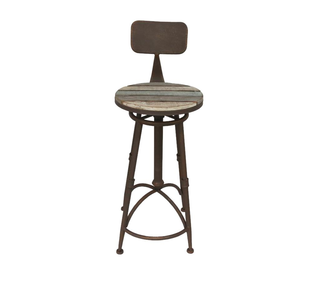 Industrial Chic High-Back Barstool - Height Adjustable from 98cm