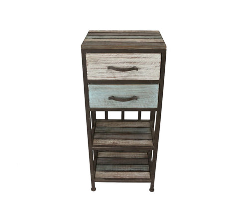 Industrial Chic Tall Wooden Drawer Unit - Height 97cm