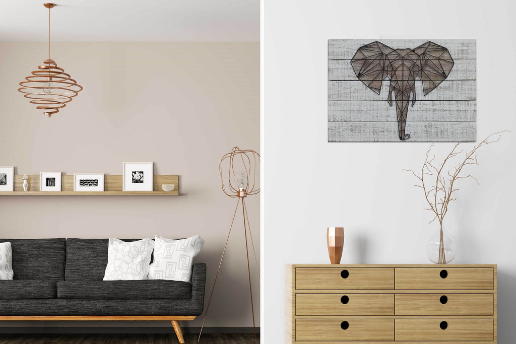 3D Metal Elephant Wooden Wall Art Décor