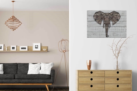 3D Metal Elephant Wooden Wall Art Décor-65cm x 50cm