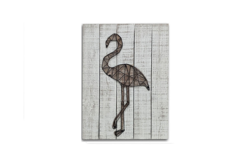 3D Metal Flamingo Wooden Wall Art Décor