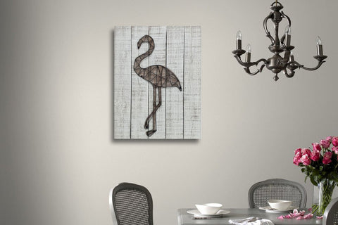 3D Metal Flamingo Wooden Wall Art Décor-65cm x 50cm