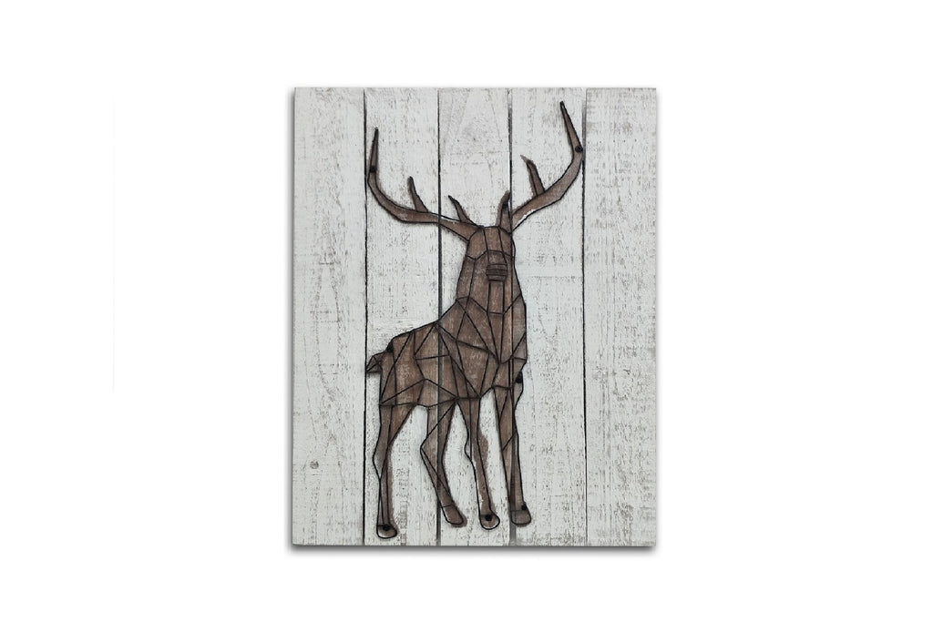 3D Metal Stag Wooden Wall Art Décor
