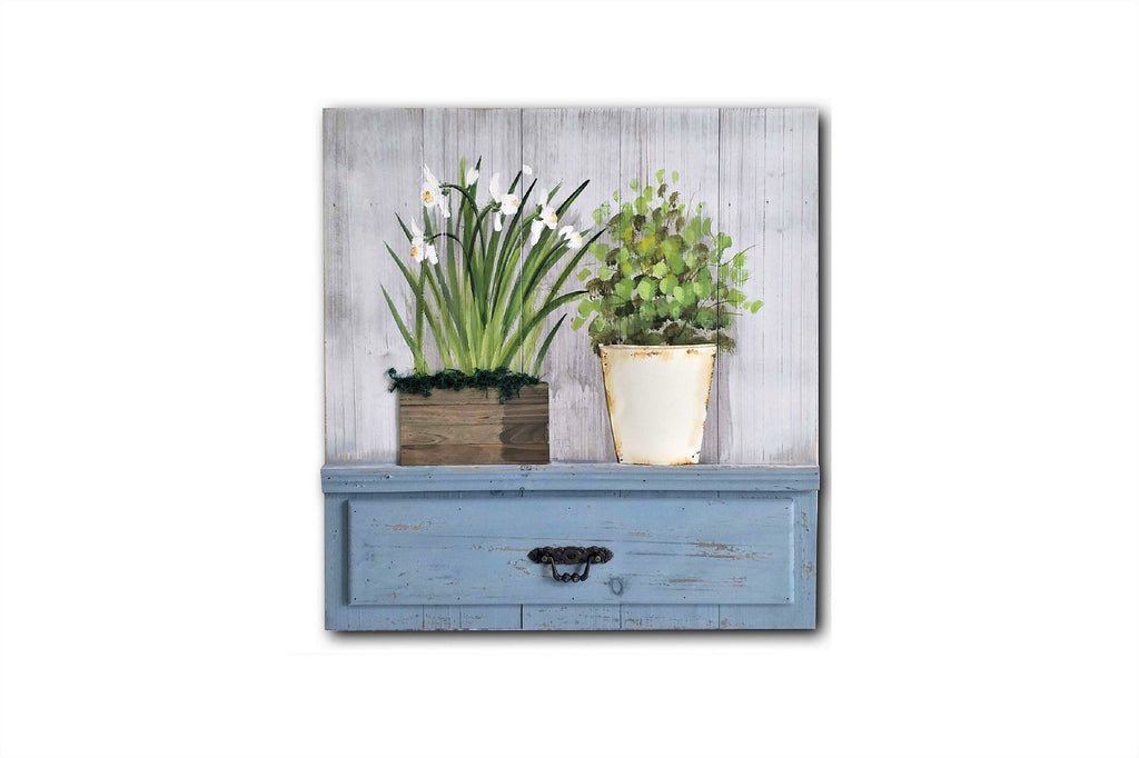 Botanical 3D Metal Work Planter and Pot Country Style Wall Art