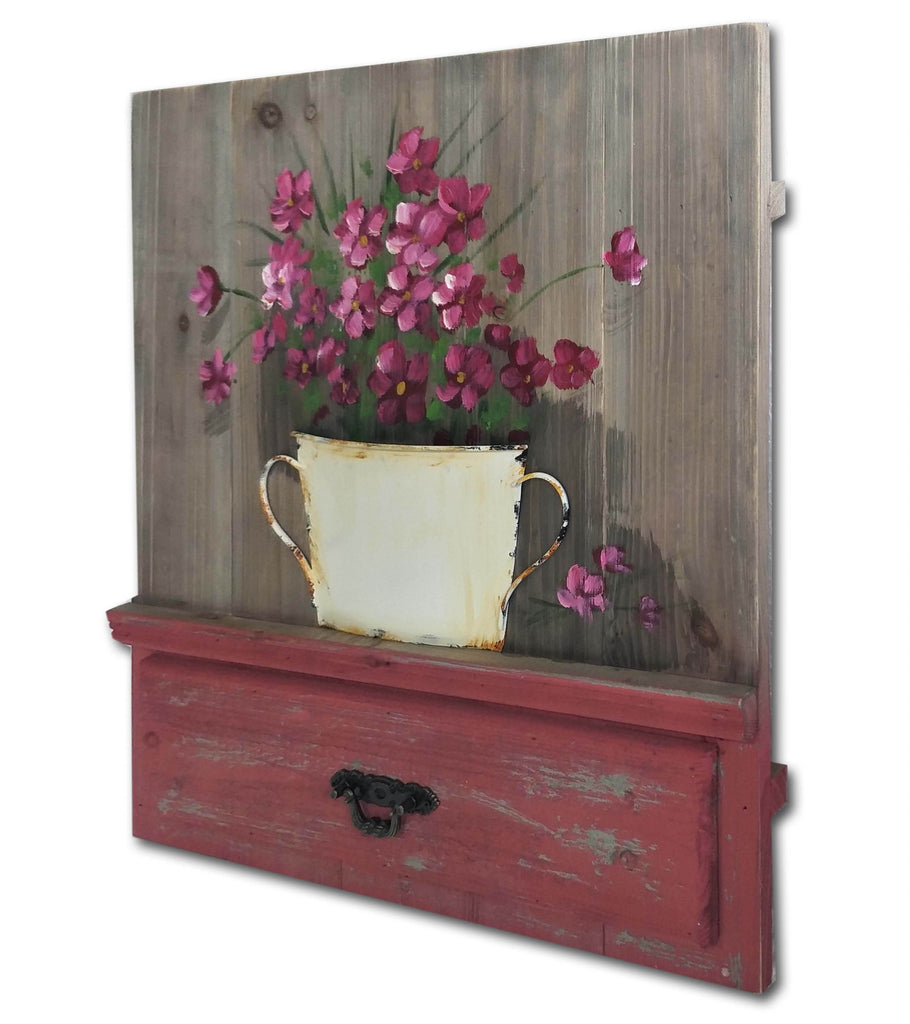 Botanical 3D Metal Work Pink Flower Planter Country Style Wall Art