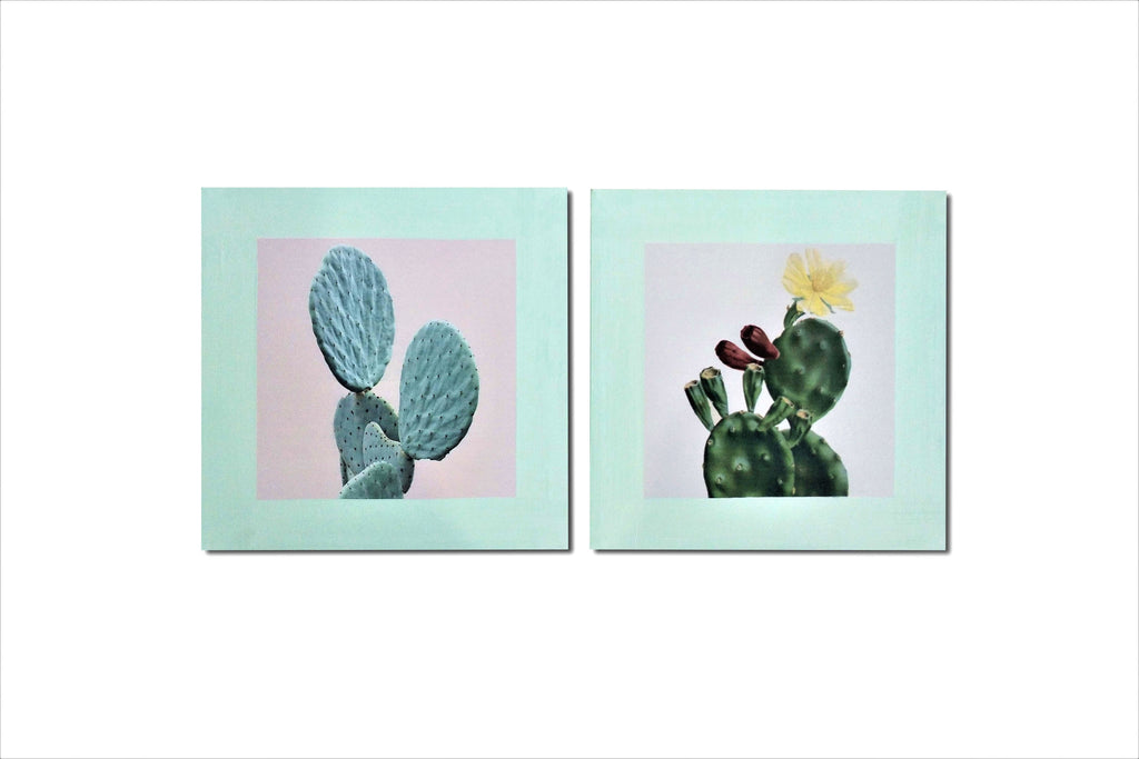 Pair Of Retro Cactus Canvas Art Prints