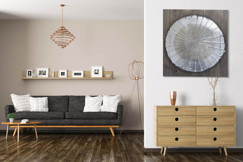 Metallic Disc and Wooden Square Wall Art-60cm x 60cm