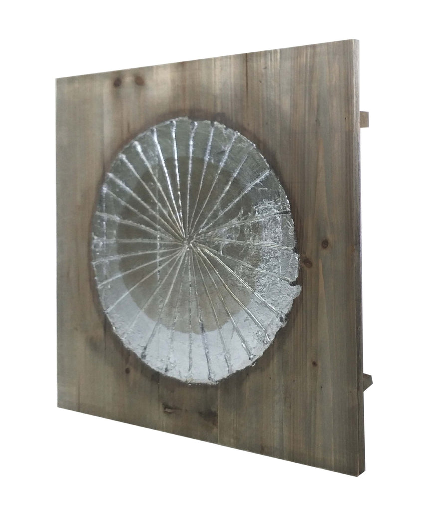 Metallic Disc and Wooden Square Wall Art