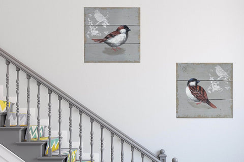 Pair of Petite Birds Square Wooden Pictures Wall Art-30cm x 30cm