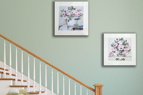 Pair of Pink Peony Traditional Country Painting Canvas Art Print-40cm x 40cm
