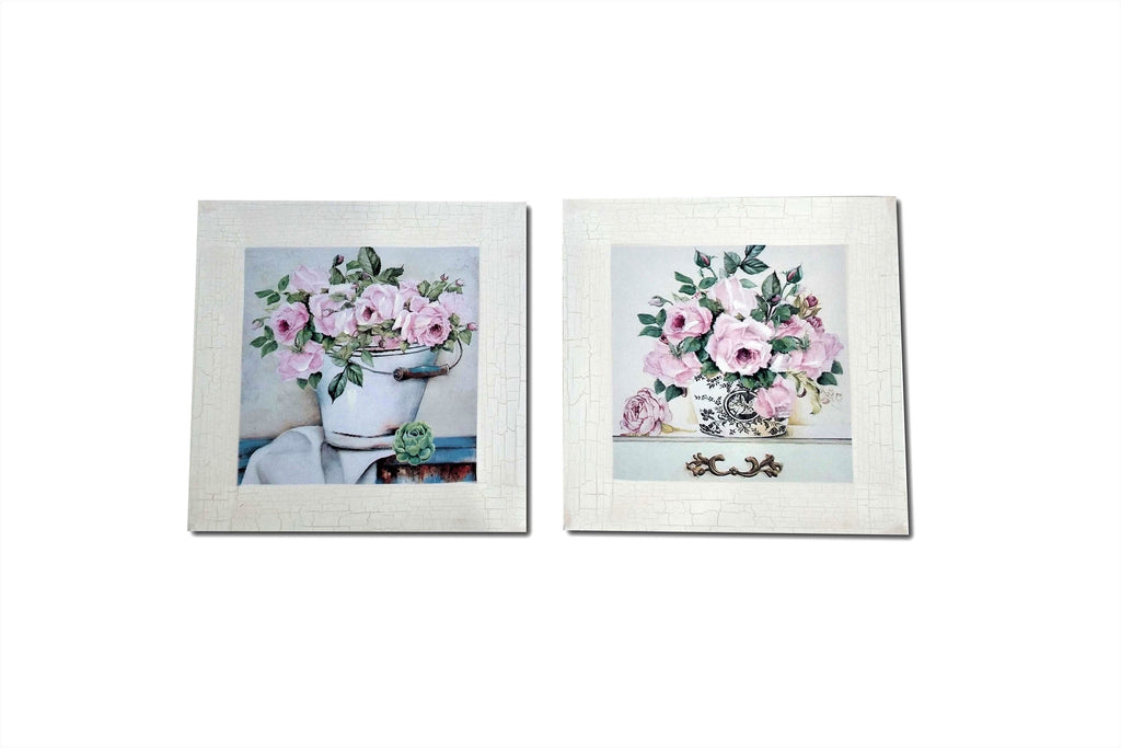 Pair of Pink Peony Traditional Country Painting Canvas Art Print