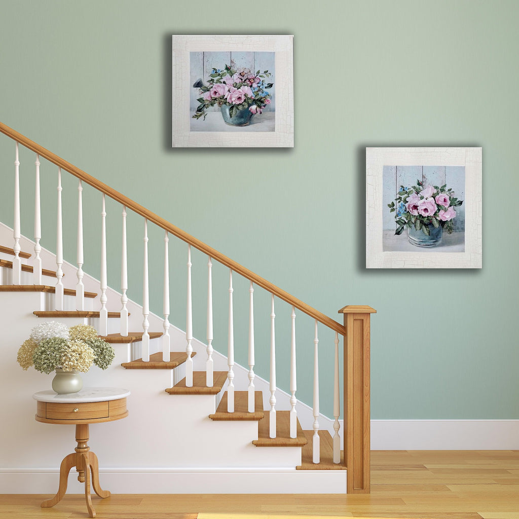 Pair of Pink Peony and Blue Watering Can and Pot Country Painting Canvas Art Print