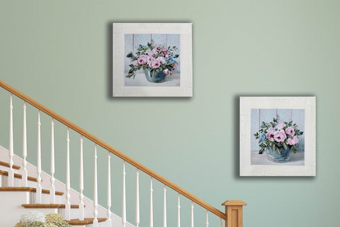 Pair of Pink Peony and Blue Watering Can and Pot Country Painting Canvas Art Print-40cm x 40cm