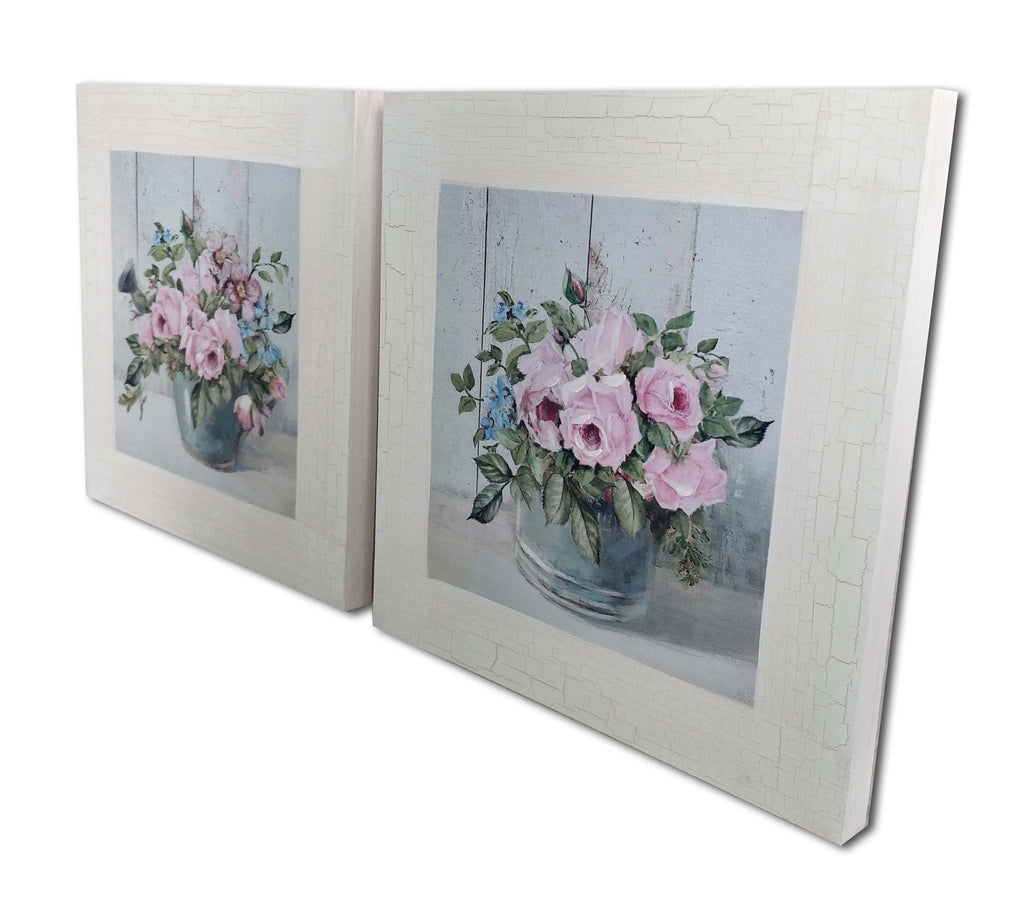 pair of pink peony and blue watering can and pot country painting