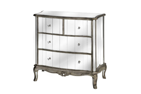 Glamour Antique French Style Mirrored Chest of Drawers-Height 92cm