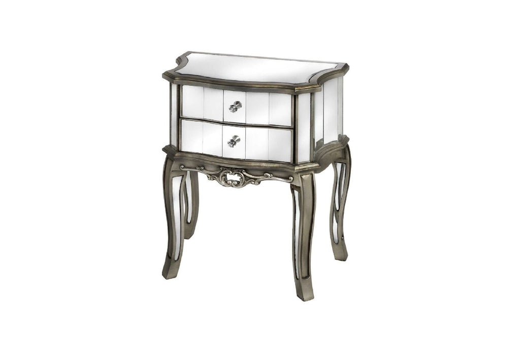 Glamour Antique French Style Mirrored Bedside Table