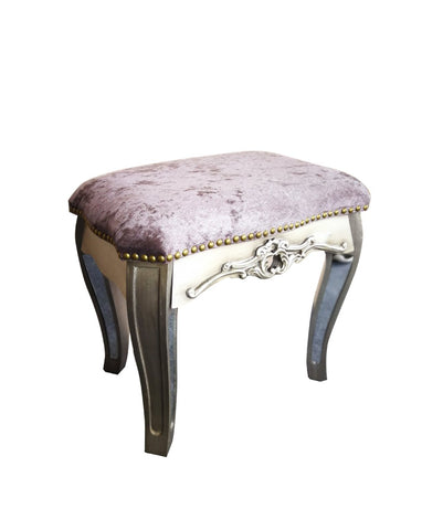 Glamour Antique French Style Mirrored Mauve Crushed Velvet Dressing Stool - Height 43.5cm