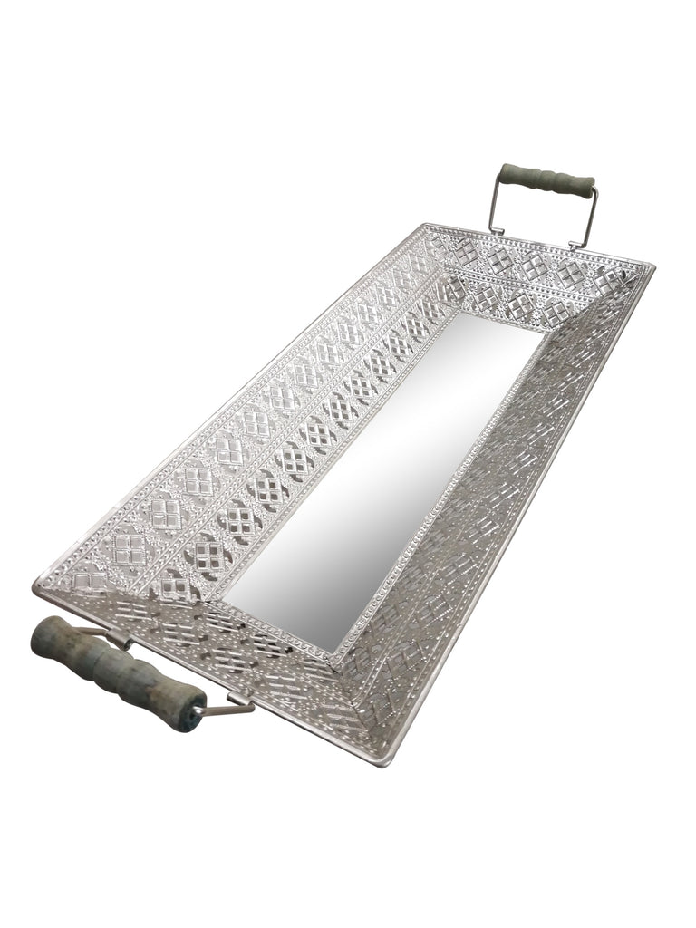 Moroccan Rectangular Silver Mirrored Tray Set of 2- Length 61cm