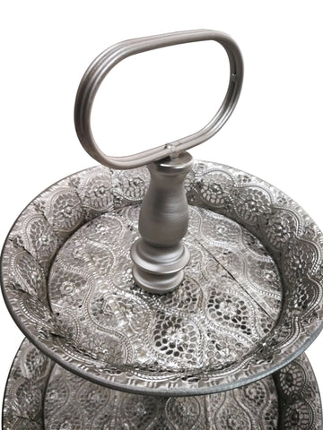 Moroccan 3-Tier Silver Display Stand-Height 60cm