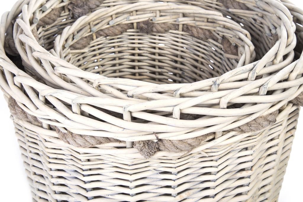 Round Wicker Log Baskets And Storage Baskets Set of 3