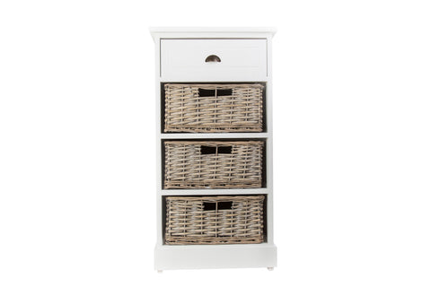 Chatsworth 4 Tier White Wooden Bedside Cabinet