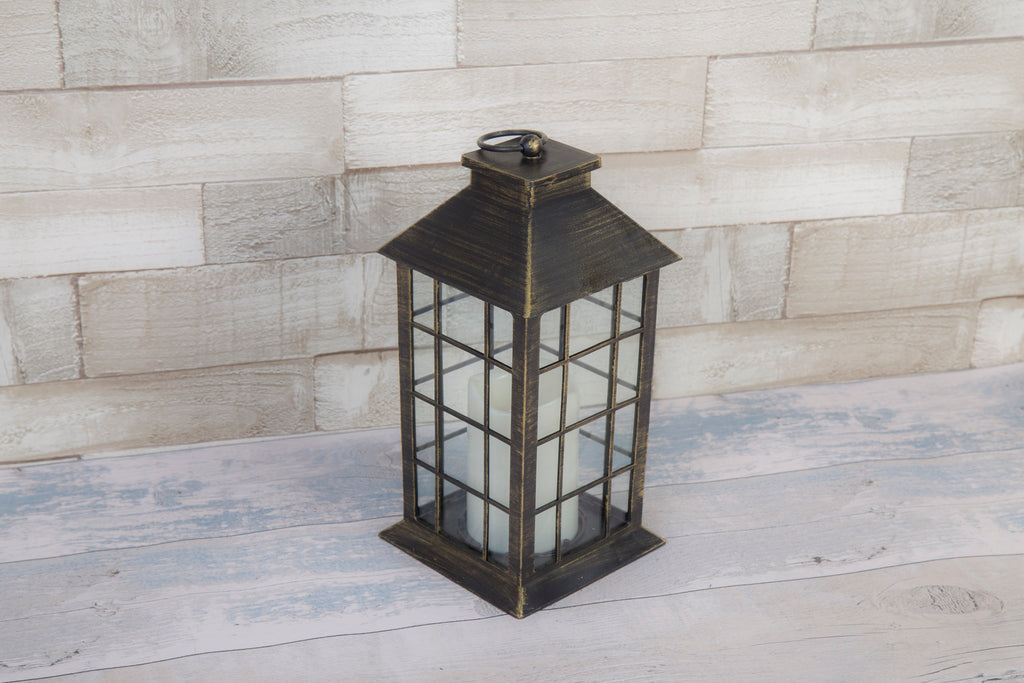 Classic Black Brushed Gold Lantern With LED Candle
