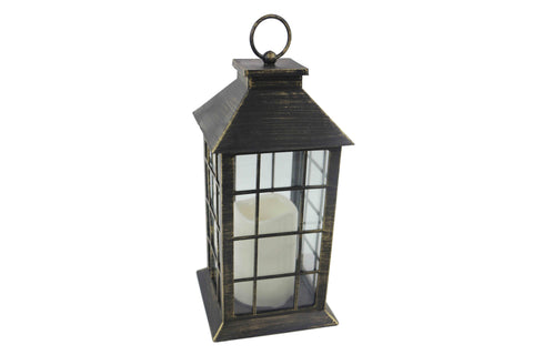 Classic Black Brushed Gold Lantern With LED Candle - Height 30cm