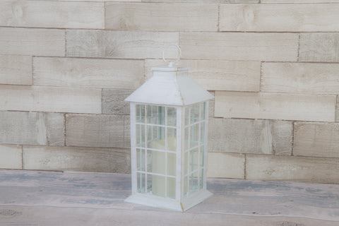 Classic White Brushed Gold Lantern With LED Candle - Height 30cm