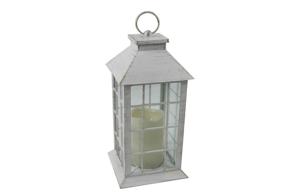 Classic White Brushed Gold Lantern With LED Candle