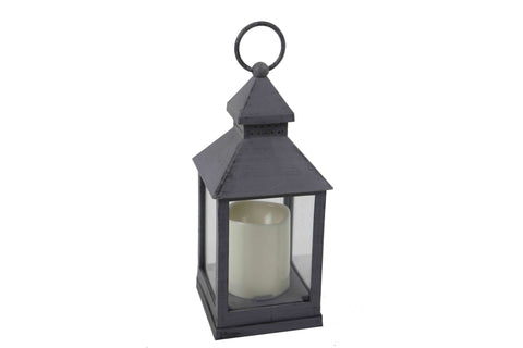 Classic Grey Lantern With LED Candle - Height 24.5cm