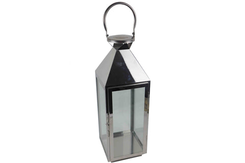 Contemporary Stainless Steel And Glass Pitched Roof Lantern - Height 55.5cm