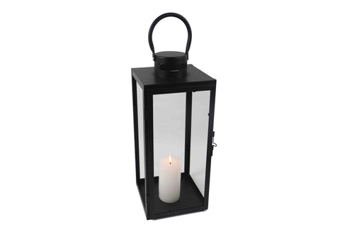 Contemporary Matt Black Metal Lantern With Glass Panels - Height 40cm