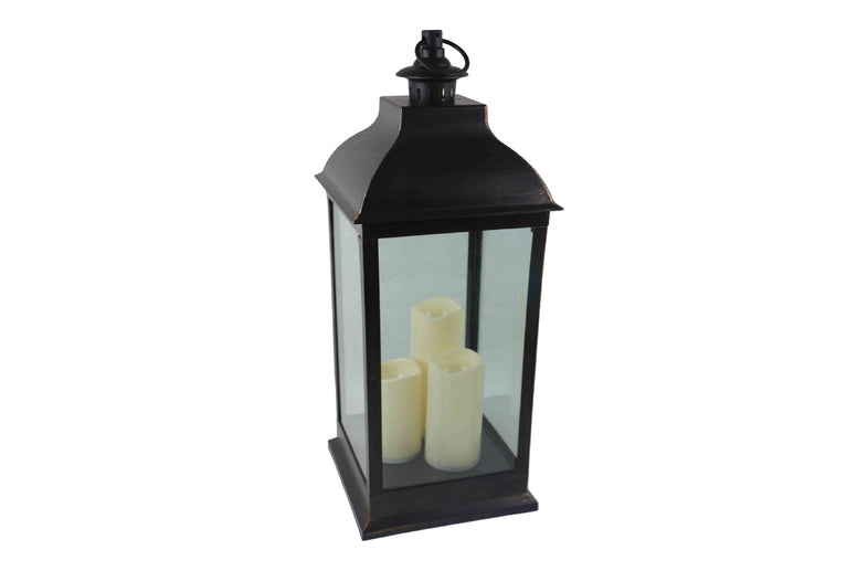 Antique Large Black Brushed Gold Lantern With 3 LED Candles - Height 70cm
