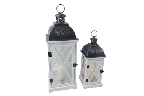 White Wood Lantern With Grey Metal Top Set of 2 - Large Height 58cm