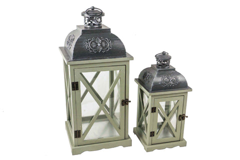 Desert Sage Wood Lantern With Grey Metal Top Set of 2 - Large Height 58cm